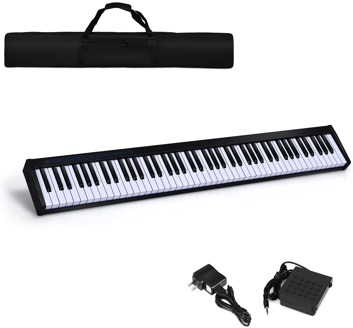 Costzon 88-Key Portable Digital Piano,Touch Sensitive Knocking Force Key Piano with External Speaker, Bluetooth Voice Function, MIDI Keyboard, Sustain Pedal, Power Supply and a Black Handbag (Black)