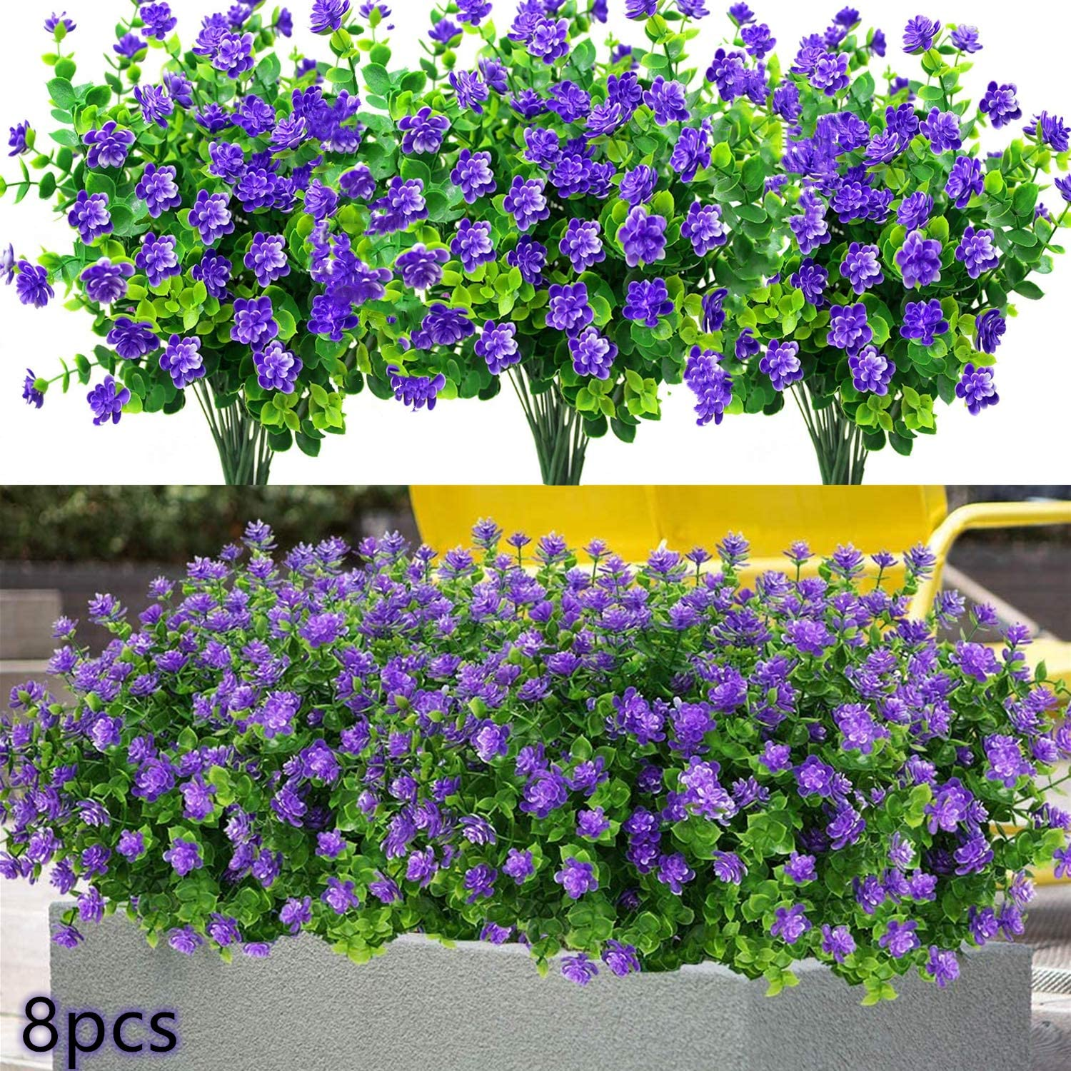 Artificial Fake Flowers Outdoor, 8pcs Plastic Flowers UV Resistant Faux Plants for Indoor Outside Hanging Home Porch Window Wedding Office Garden Decor (Purple)