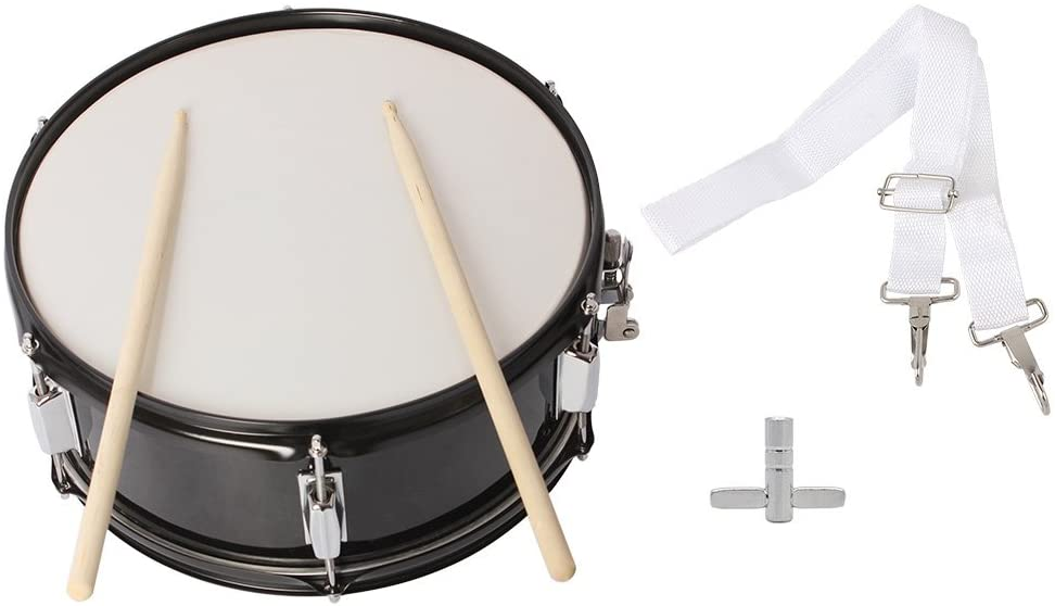"""Festnight Snare Drum Kit 14"""" x 5.5"""" Professional Marching Snare Drum with Drum Stick Carrying Strap and Wrench Kit Black"""