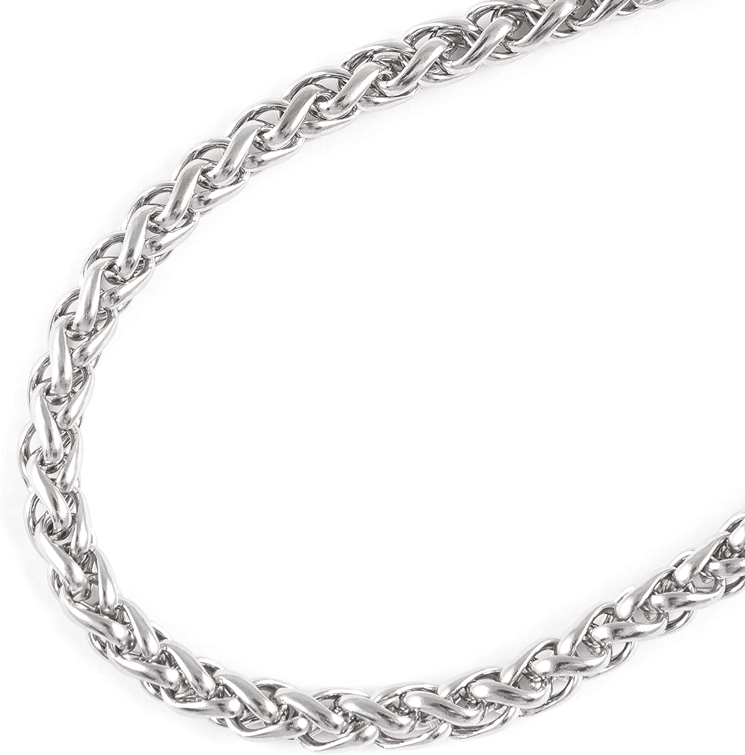 JFSG 316L Stainless Steel Wheat Link Chain Necklace For Men Or Women 3/4/5/6mm 16 to 36 Inches