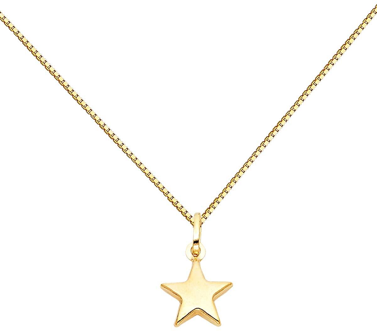 TGDJ 14k Yellow Gold Star Pendant 0.65mm Box Link Chain Necklace