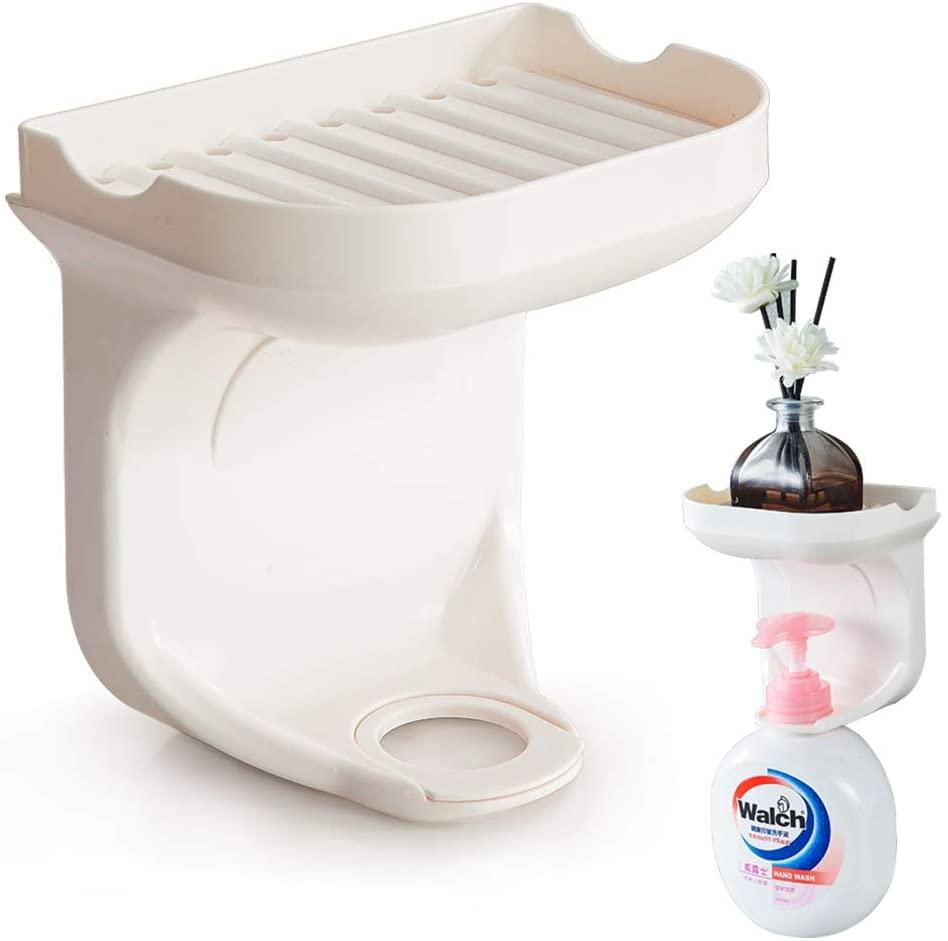 shikaman Soap Tray-Bathroom Bottle Holder,Soap Dish Holder Shampoo Holder Hook,Shower Soap Holder Hook (Milky White, 1)