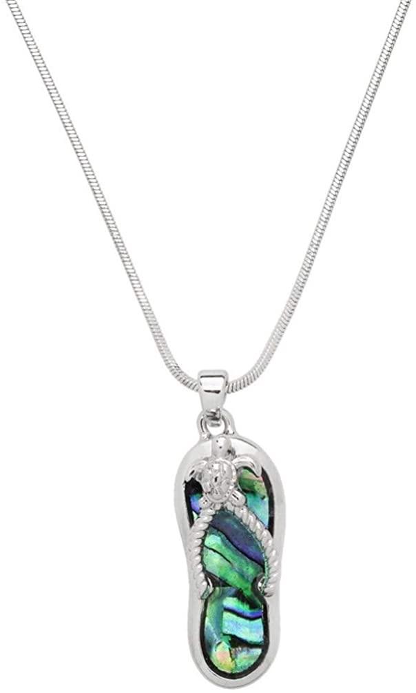 Liavys Sea Turtle Flip-Flop Sandal Charm Pendant Fashionable Necklace - Abalone Paua Shell - 17 Snake Style Chain - Unique Gift and Souvenir