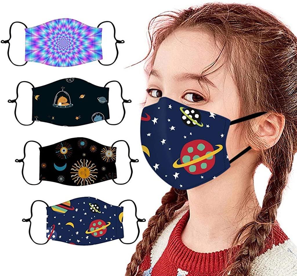 4PCS Fashion Printed Cotton Cloth Face_Mask OutdoorBreathable Kids Reusable Adjustable Cycling Washable Mouth Bandanas