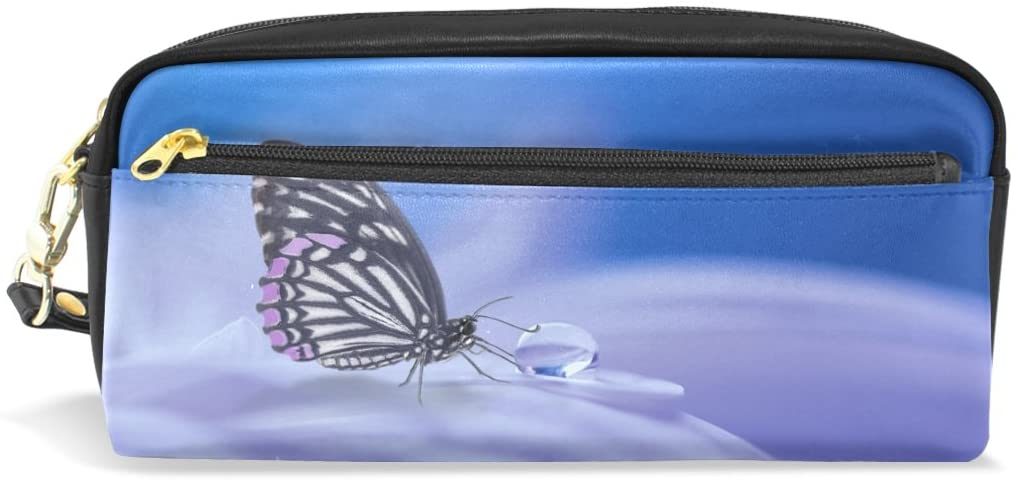 Butterfly Leather Student Pencil Case Pen Cosmetic Bag for Girls Makeup Pouch