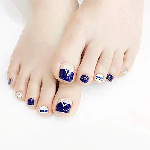 Jovono Glossy Press on Toenail Blue Full Cover Fake Toenail Arylic False Toe nails for Women and Girls(24Pcs)