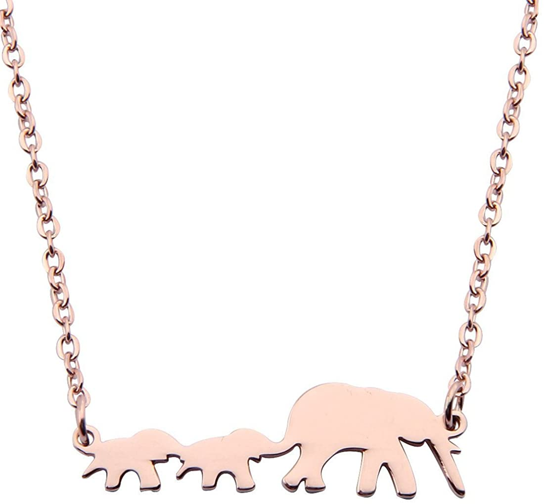 ZUOBAO Mother and Baby Twin Elephant Necklace