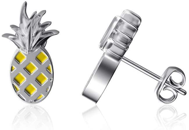 Dayna Designs Pineapple Post Earrings - Enamel - Sterling Silver Jewelry Small for Women/Girls