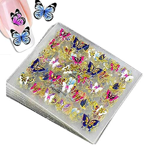 Butterfly Nail Art Sticker Decals 3D Nail Accessories Decorations Butterfly Nail Foil Sequins Self-Adhesive Gold Plated Shiny Butterfly Glitter Nail Design Stickers for DIY Nail Art 24 Pcs