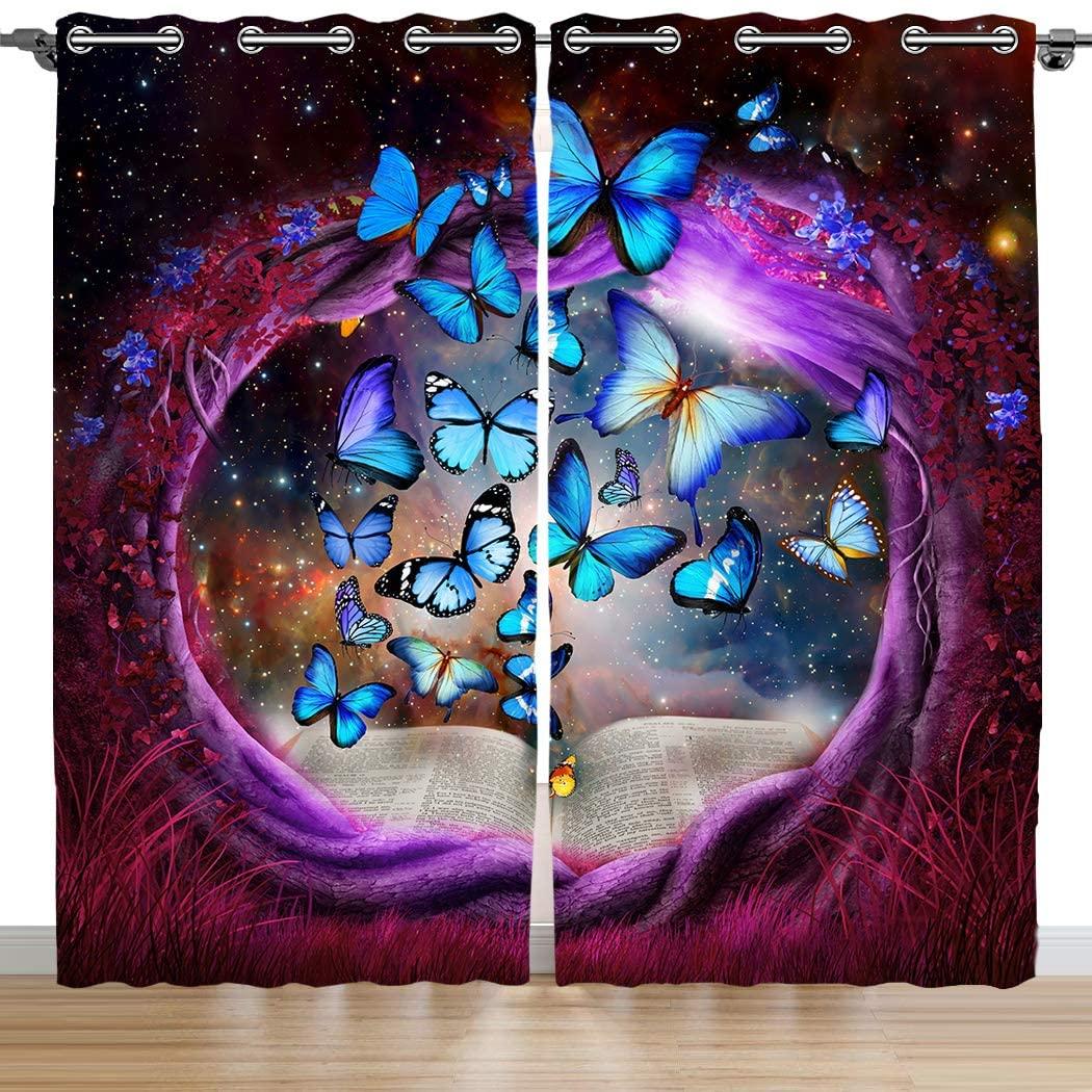 SXCHEN Blackout Curtains 2 Panels Grommet Bedroom Curtain Purple Tree Hole Blue Butterfly W28 x L48 Inch