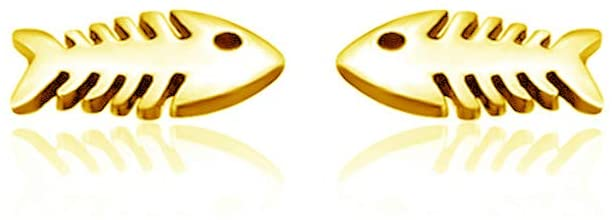 Dayna Designs Fish Post Earrings - Gold Over Sterling Silver Jewelry Small for Women/Girls