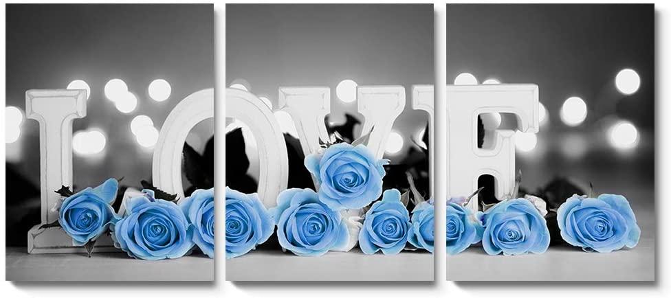 Inspirational Love Rose Wall Art Modern Blue Flower Home Office Decorative Prints (BLUE, 12x16inch)