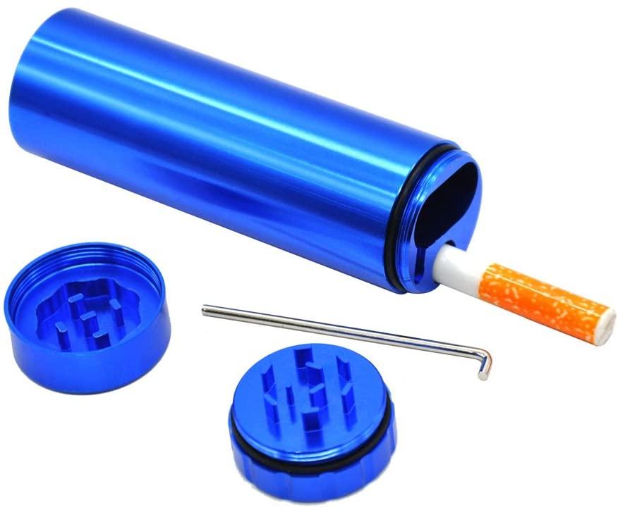 OHOH Portable Stash Holder with Mini Grinder Lid, Lid Design Smell Proof (blue)