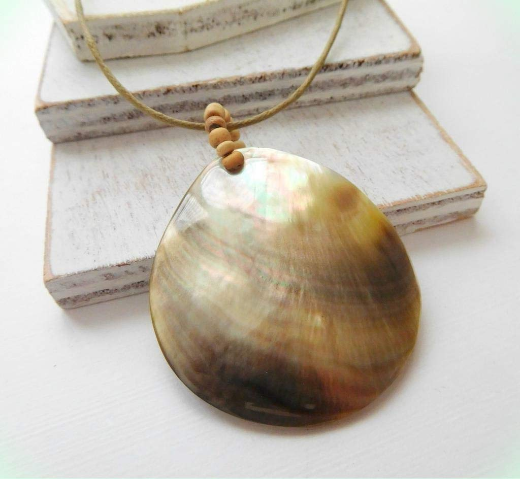 Shining Mocha Brown Genuine Abalone Shell Teardrop Pendant Tan Cord Necklace for Women HH9