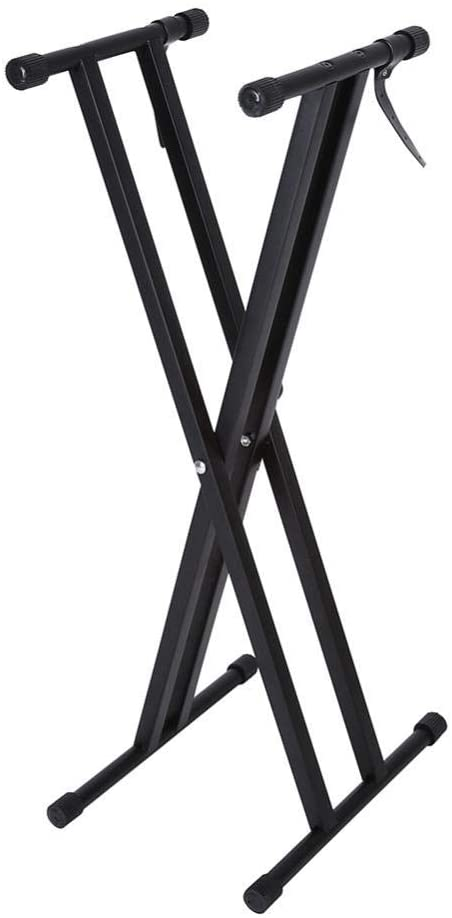 GOTOTOP Double-X Keyboard Stand Adjustable Piano Keyboard Stand with Locking Straps and Solid Metal Construction Heavy-Duty Infinitely Portable Piano Keyboard Stand Music Electric Organ Holder