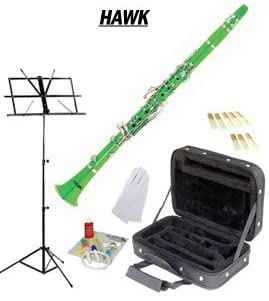 Hawk Green Bb Clarinet Package with Case Reeds Music Stand & Cleaning Kit WD-C213-GR-PACK