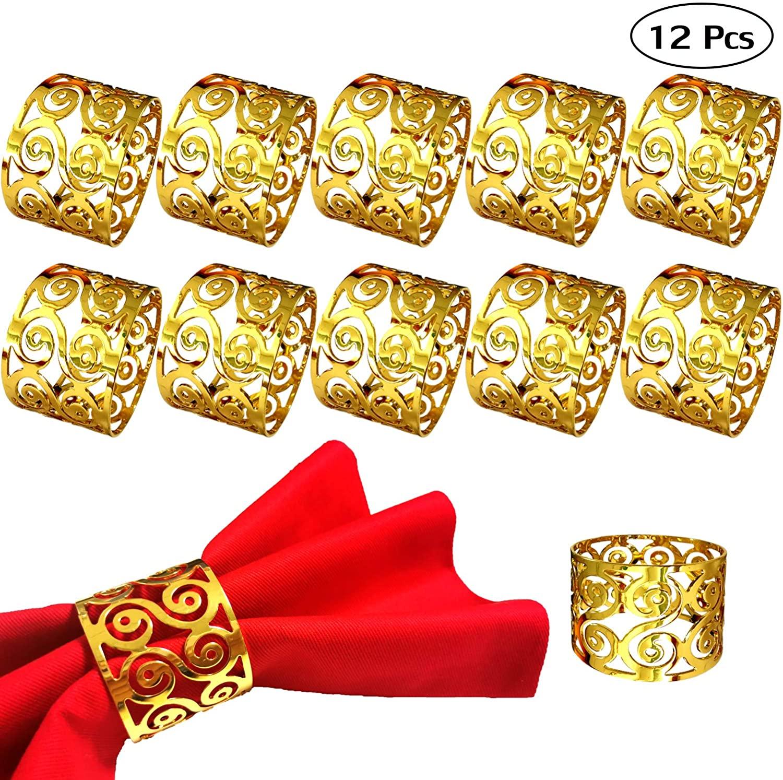 Getfitsoo Napkin Ring,Napkin Holder for Wedding Christmas Party Dinner Table Decor 12 Pcs (Pattern Gold)