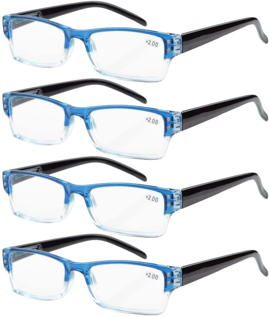 Eyekepper Reading Glasses-4 Pack Blue-Clear Frame for Women Men Reading,Two-Tone +0.50 Reader Eyeglasses