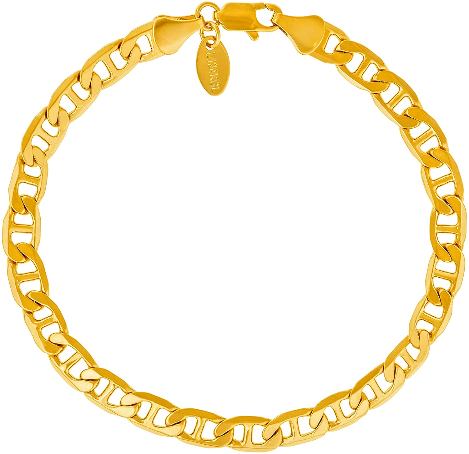 Lifetime Jewelry 6mm Mariner Link Chain Anklet for Women & Men 24k Gold Plated