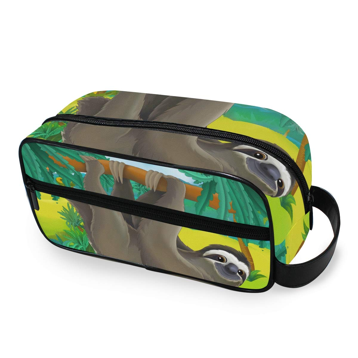 JOYPRINT Portable Travel Makeup Bag, Animal Sloth Tree Art Cosmetic Bag Toiletry Bag Pouch with Zipper Multifunction Cosmetic Case for Women Girls