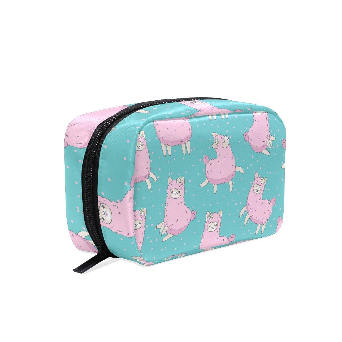 YZGO Cute Pink Fluffy Llama Alpaca Cosmetic Pouch Waterproof Makeup Bag Organizer Travel Case