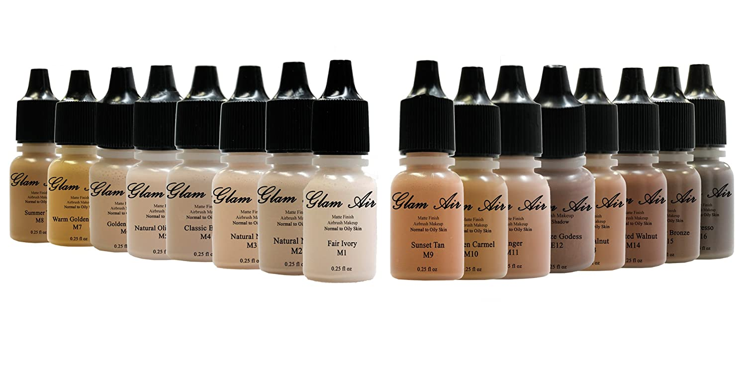 Set of 16 Shades of Glam Air Matte Airbrush Makeup Foundation Water Based Long Lasting 0.25oz Bottles (Great for Normal to Oily Skin)