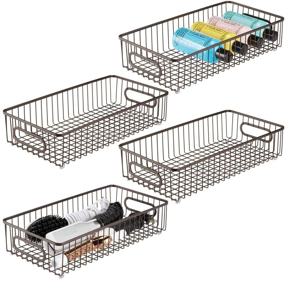 mDesign Metal Bathroom Storage Organizer Basket Bin - Farmhouse Wire Grid Design - for Cabinets, Shelves, Closets, Vanity Countertops, Bedrooms, Under Sinks - Large, 4 Pack - Bronze