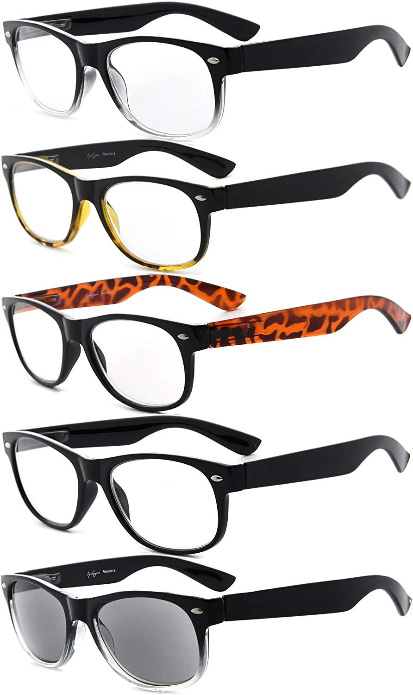 Eyekepper 5-Pack Spring Hinges 80s Reading Glasses Includes Sunshine Readers +2.25