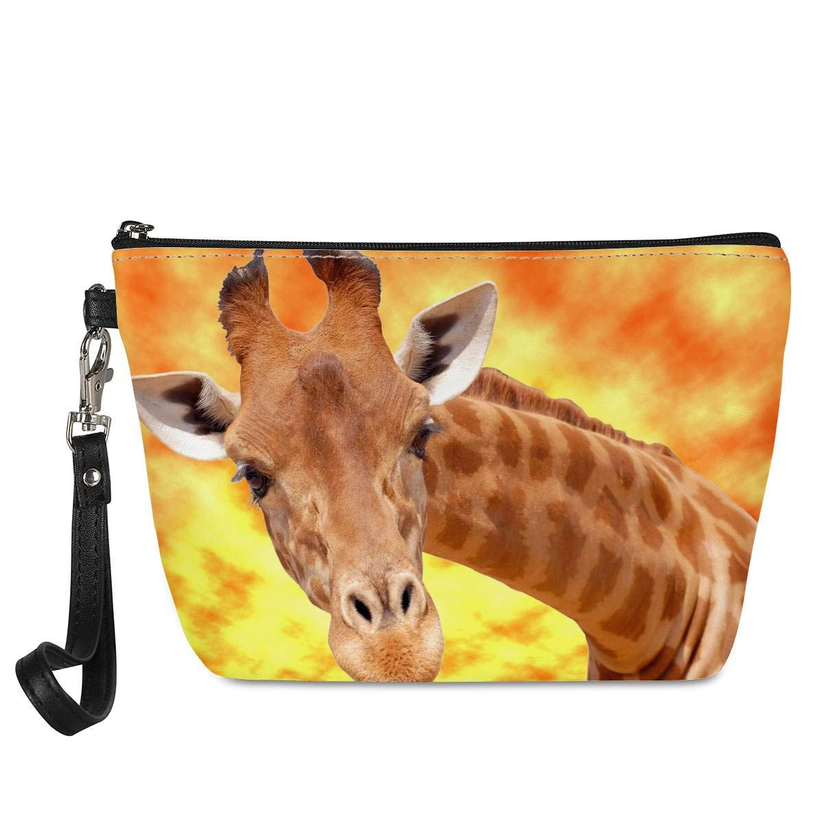doginthehole Portable PU Leather Makeup Bag Waterproof Cosmetic Toiletry Case Kit Giraffe Gifts for Women Adults