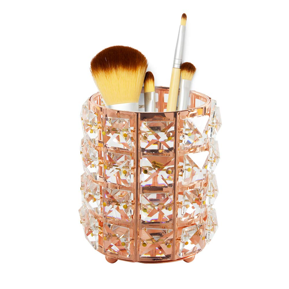 Qualsen Crystal Makeup Brush Holder Organizer Eyebrow Comb Brushes Pen Pencil Cup Container Cosmetic Storage Organizer, Rose Gold