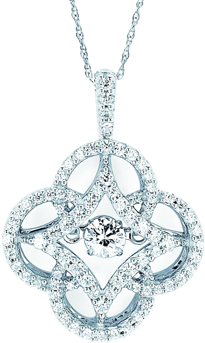 14K White Gold Dancing Diamond Clover Pendant Necklace, 18