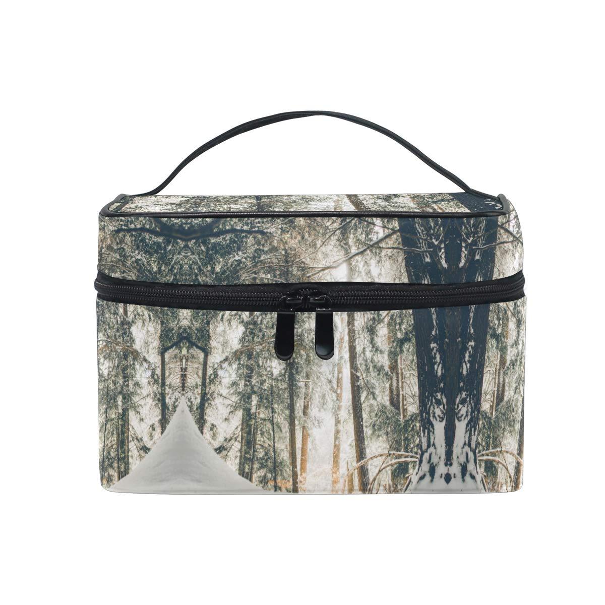 Large Travel Makeup Train Case Nature Winter Carrying Portable Zip Cosmetic Brush Bag Makeup Bag Organizer for Girls Women