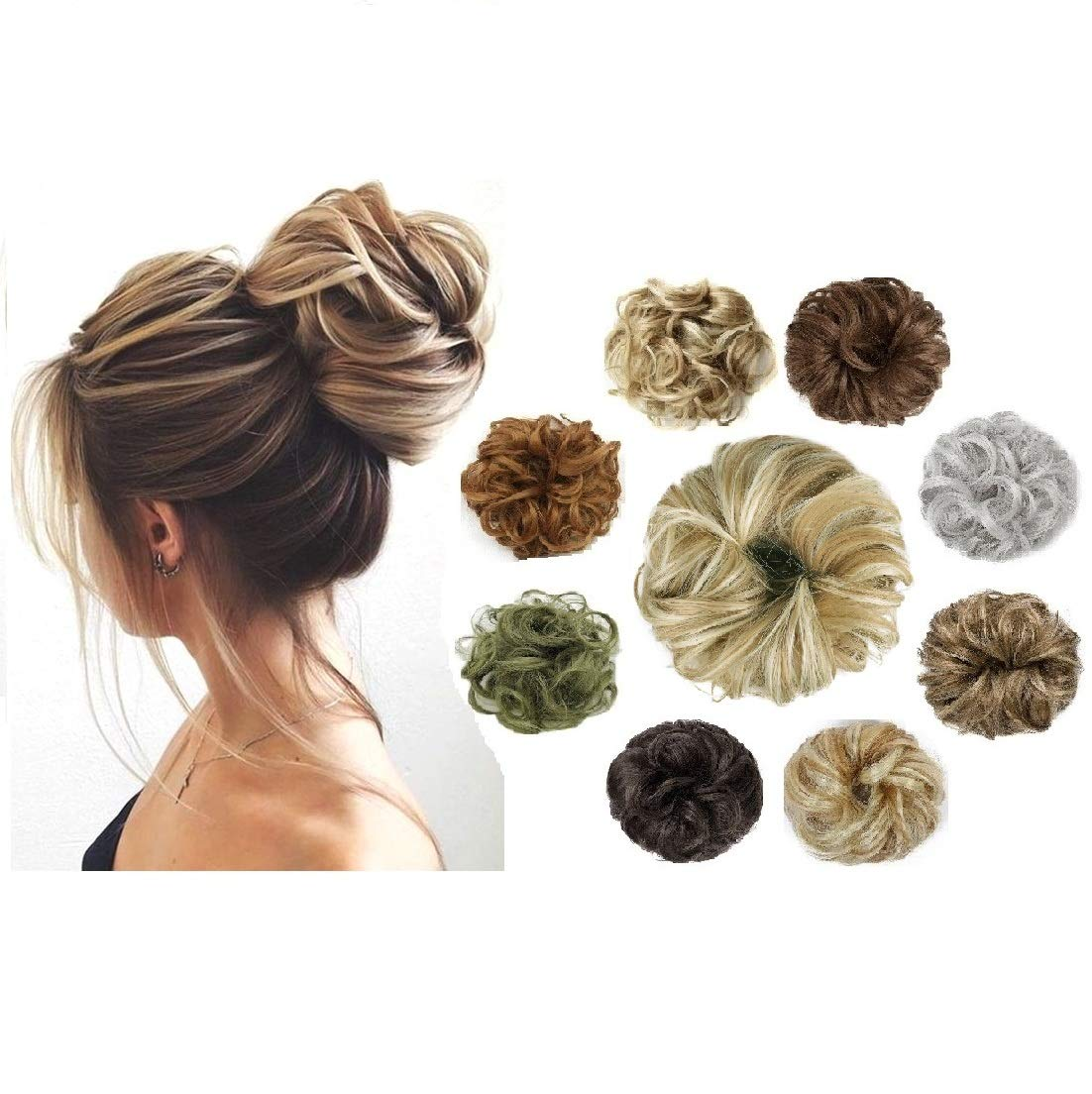 BaFaHo Messy Hair Bun Hair Scrunchies Extension Curly Wavy Messy Synthetic Chignon for Women Updo Hairpies.(2PCS-Ginger Brown & Bleach Blonde)