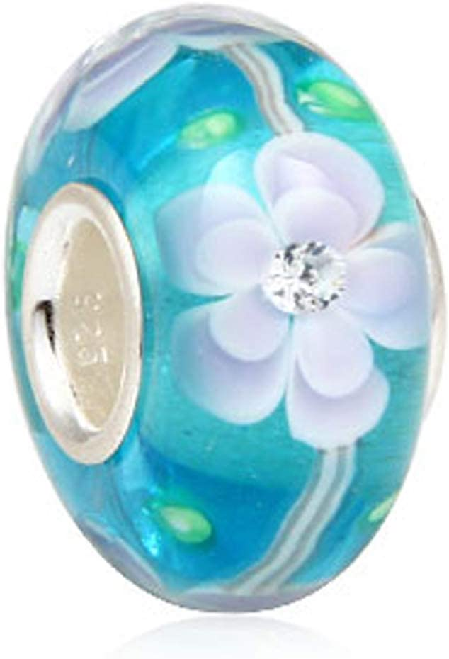 Ocean Charm Small Fish Charm 925 Sterling Silver Charm Animal Charm Foam Charm Murano Glass Beads Charm Fashion Bracelets for Women (Blue Flower Glass Bead)