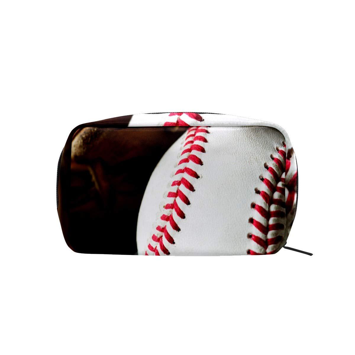 Women Makeup Bags,Cosmetic Organizer Storage Bag for Girls Female,Portable Travel Toiletry Pouch Beauty Handbag Zipper Purse Baseball Ball