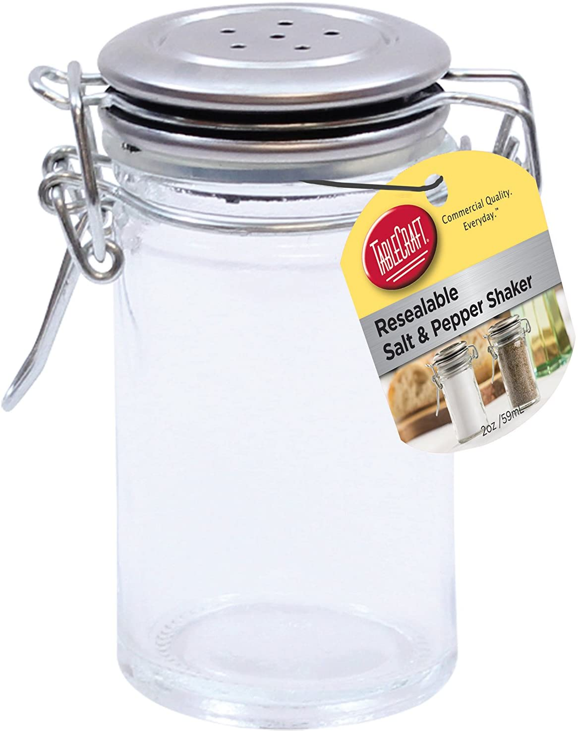 TableCraft's 2-Ounce Resealable Salt & Pepper Shaker, Glass Jar with Stainless Steel Clip-Top Lid, Clear