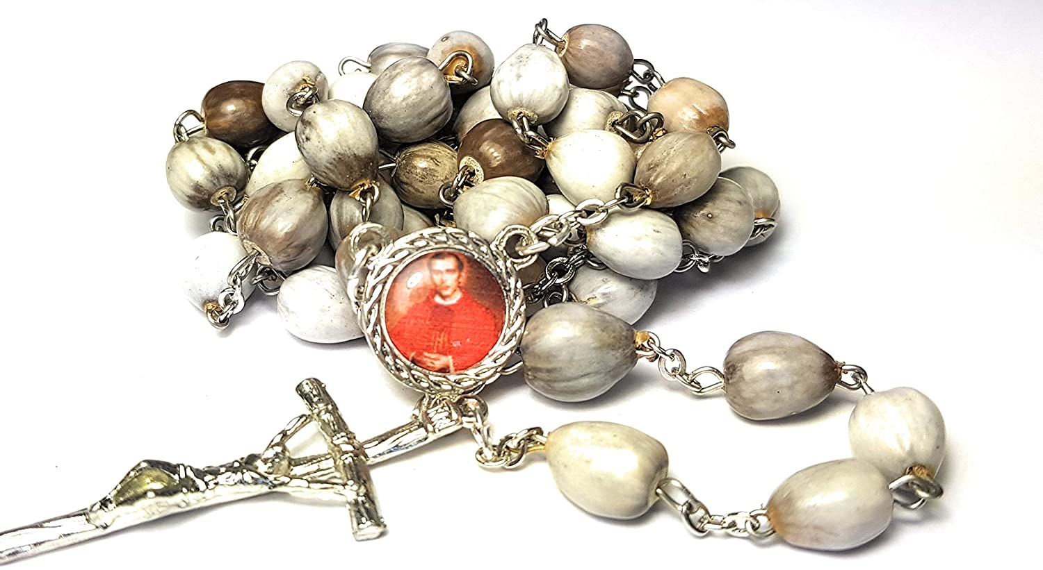 3rd Class relic Rosary Jerzy Popieluszko Martyr Catholic Church Solidarity Poland Polish Priest Defender of Human Rights and Religious Freedom Organic Job's Tears