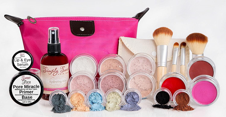GLAM KIT (EBONY) Full Size Mineral Makeup Set Matte Foundation Bare Face Sheer Powder Cover