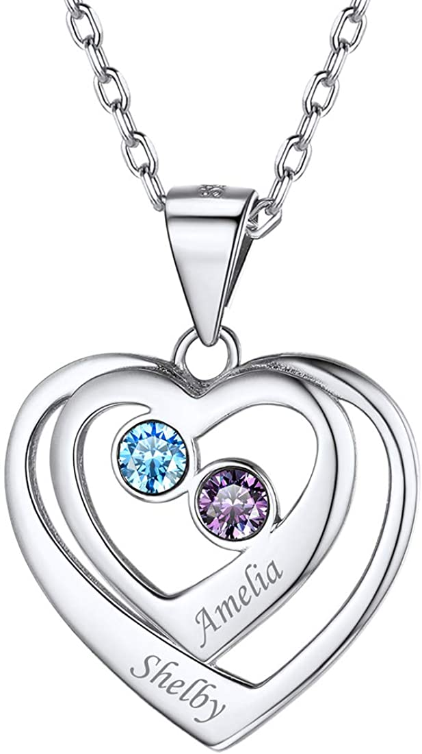 ChicSilver Personalized 925 Sterling Silver Engraved Custom Name Necklace with 2 Simulated Birthstones, Heart Pendant Necklace for Women Promise Couple Mother Jewelry (with Gift Box)