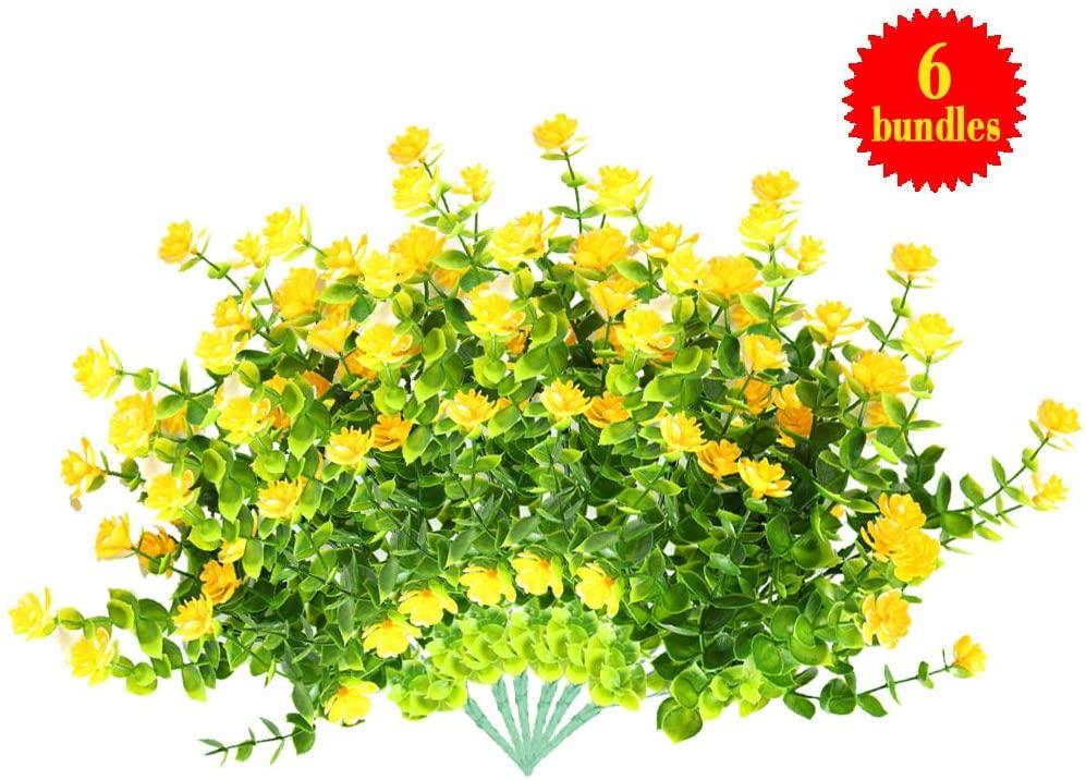 Dmode Artificial Flowers Outdoor Fake Flowers Decoration UV Resistant No Fade Faux Plastic Plants Garden Porch Window Decoration (Yellow)