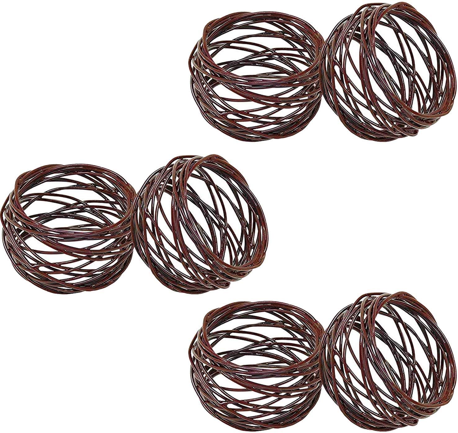 SKAVIJ Handmade Round Metal Mesh Napkin Rings Holder for Dinning Table Parties Everyday, Set of 6 (Brown)