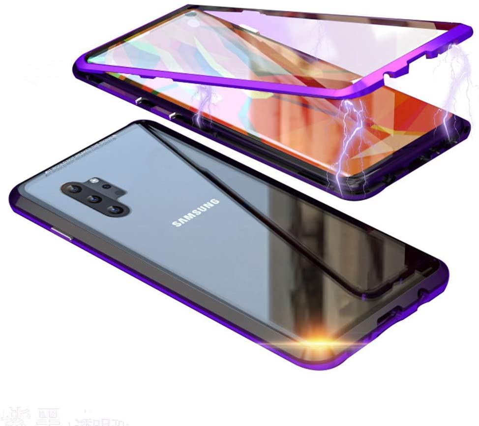 UMTITI Compatible Samsung Galaxy Samsung Galaxy Note 10+ Plus 5G Case, Magnetic Clear Tempered Glass Cover with a Screen Protector (6.8 inch 2019) (Black-Purple)