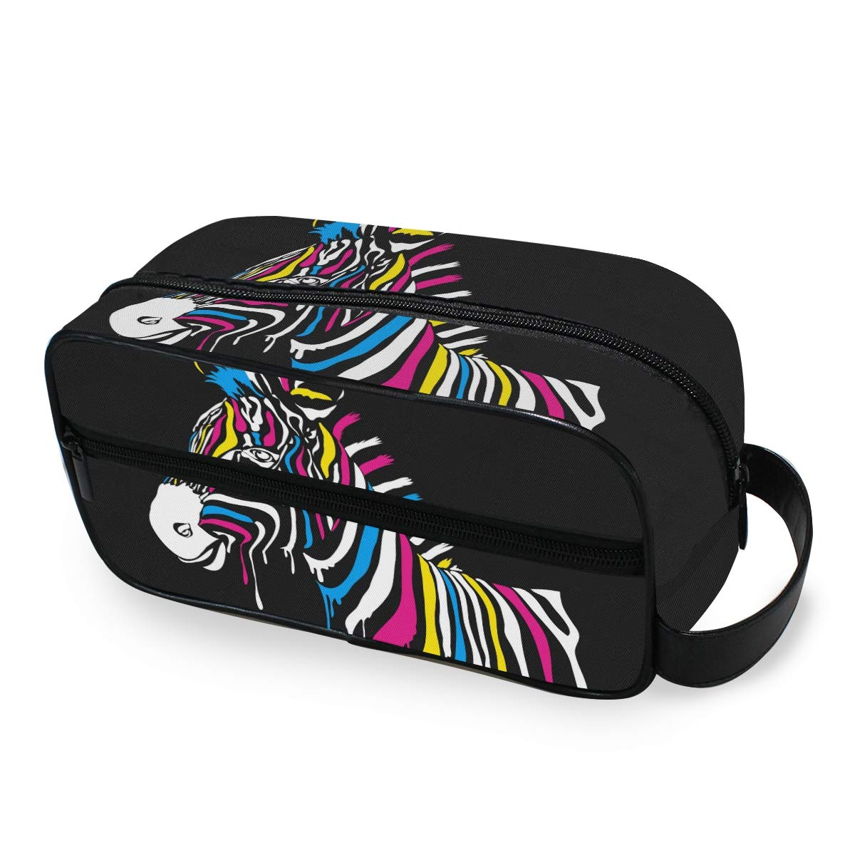 JOYPRINT Portable Travel Makeup Bag, Animal Zebra Print Rainbow Art Cosmetic Bag Toiletry Bag Pouch with Zipper Multifunction Cosmetic Case for Women Girls