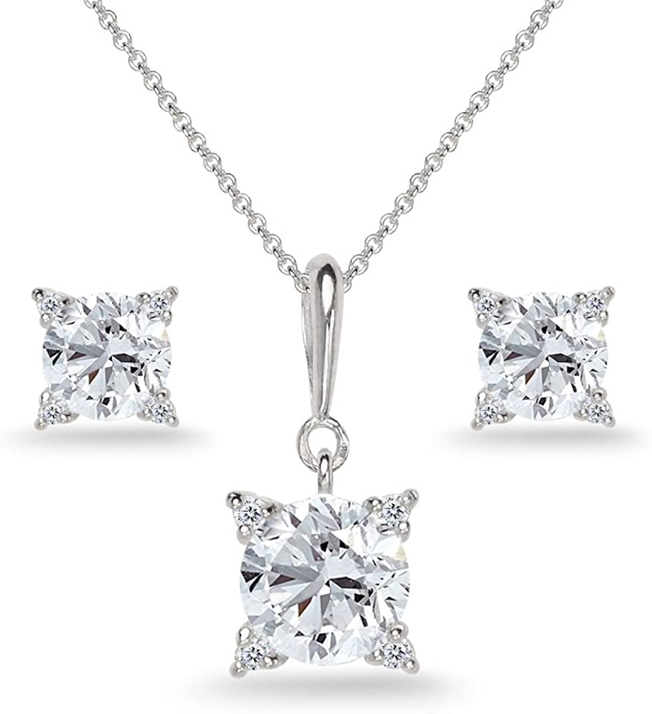 Sterling Silver Synthetic White Sapphire Studded Solitaire Necklace & Stud Earrings Set