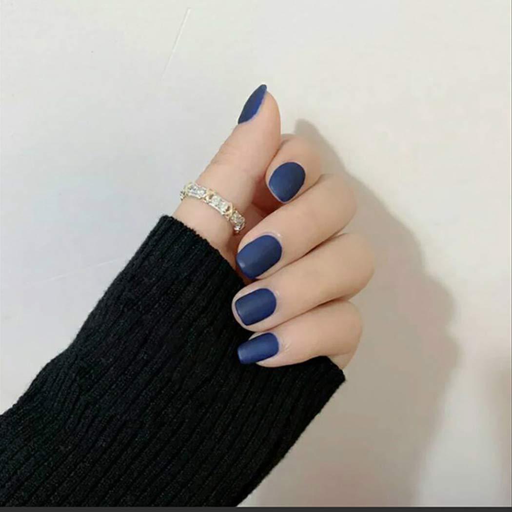 Vinzar Blue False Nail Full Cover Short Nails Matte Fake Nail Short Square Acrylic Nail Tips Clip on Nail for Women and Girls(24Pcs)