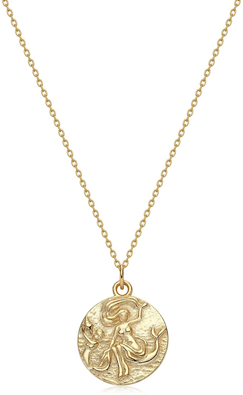 BENEIGE Coin Necklaces for Woman 14K Gold Retro Flower Animal Portrait Relief Charm Medallion Circle Disc Pendant Gold Jewelry