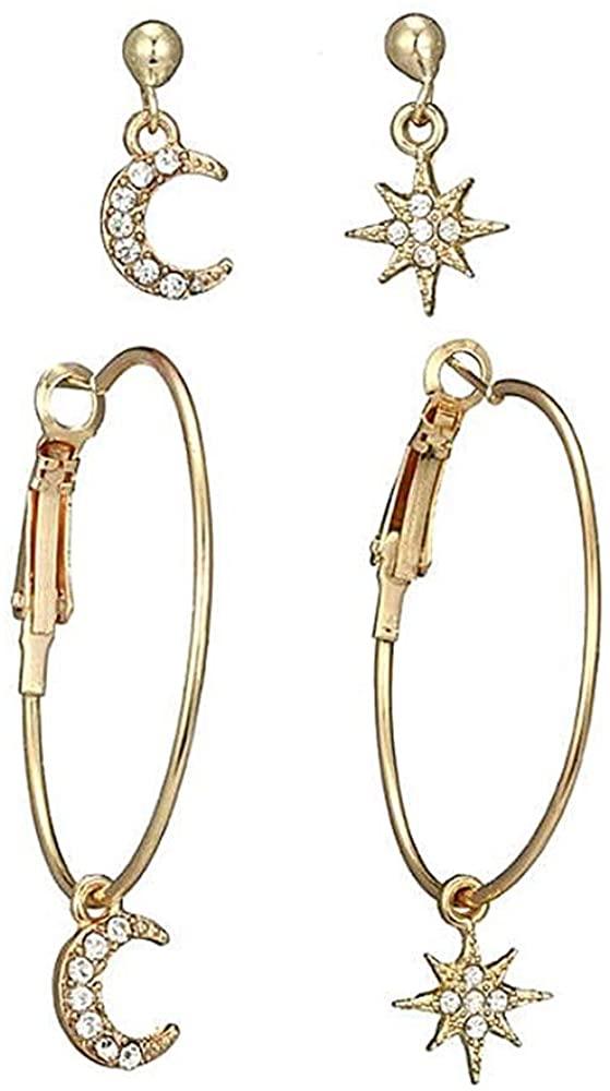 Star Dangle Earrings for Women, Small Star Moon Gold Earrings Set for Girl, Gold Hoop Drop Dangle Earrings