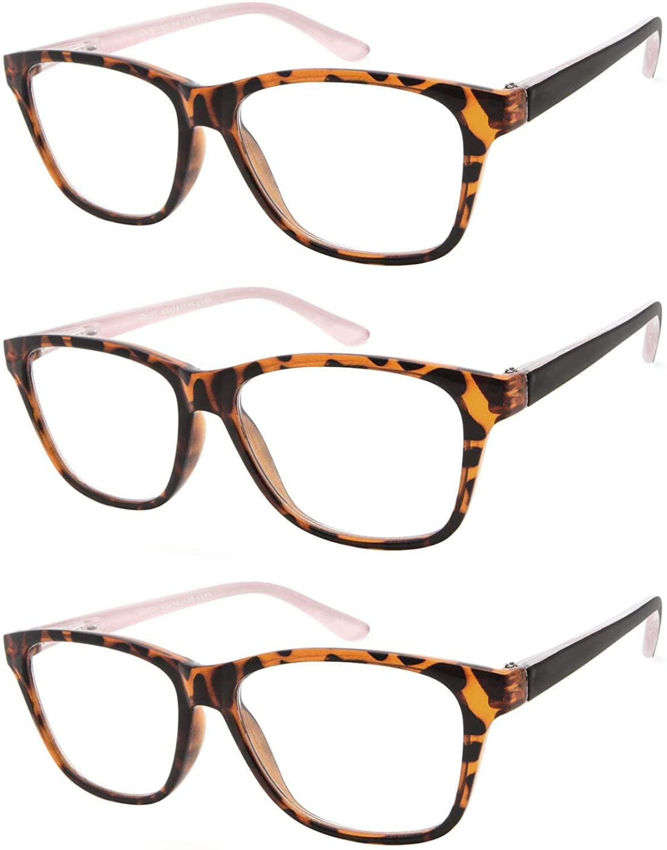 FaceWear 3 Pairs Spring Hinges Vintage Reading Glasses for Men Women Pattern Design Readers CZR1104