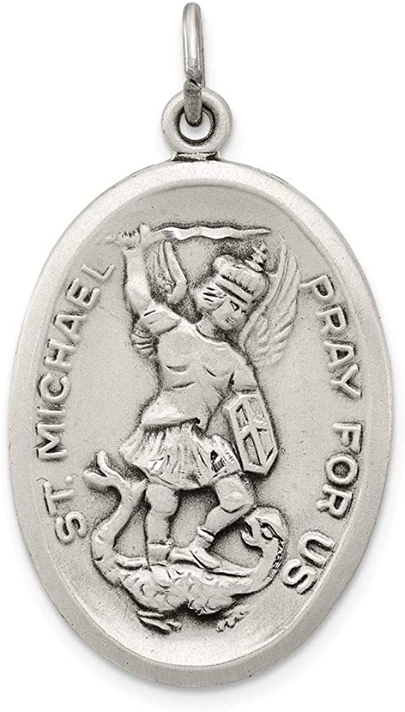 925 Sterling Silver Solid Satin finish Not engraveable St. Michael Medal Charm Pendant Necklace Jewelry Gifts for Women
