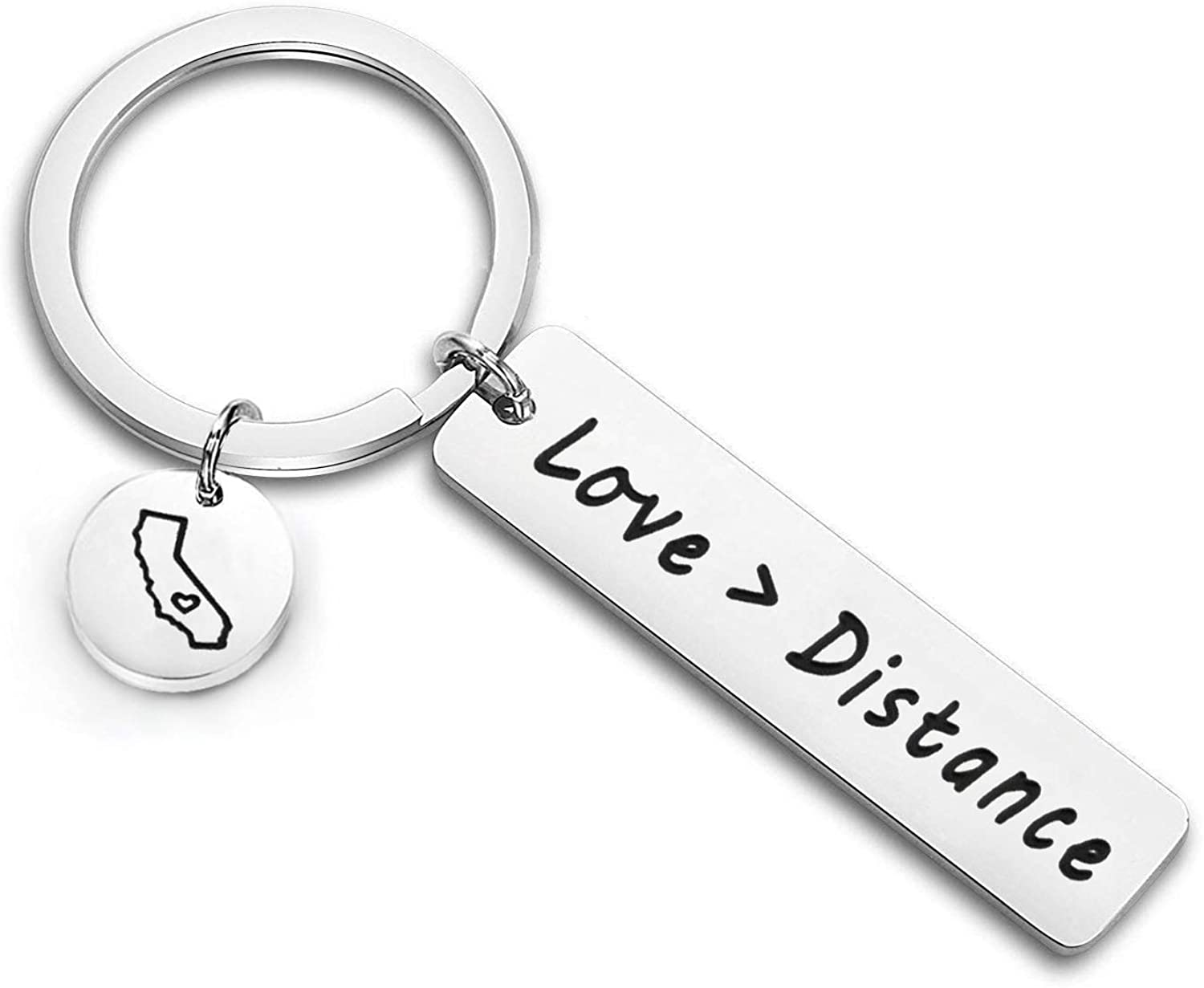 Zuo Bao Long Distance Relationship Necklace Love is Greater Than Distance Keyring Boyfriend Gift Girlfriend Gift Going Away Gift State Necklace